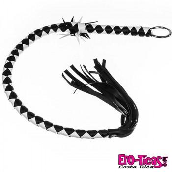 BDSM Látigo de Cuero Trenzado Blanco y Negro.