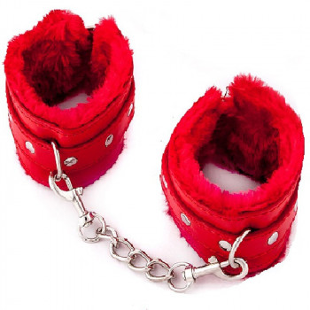 BDSM Tobilleras rojas con peluche